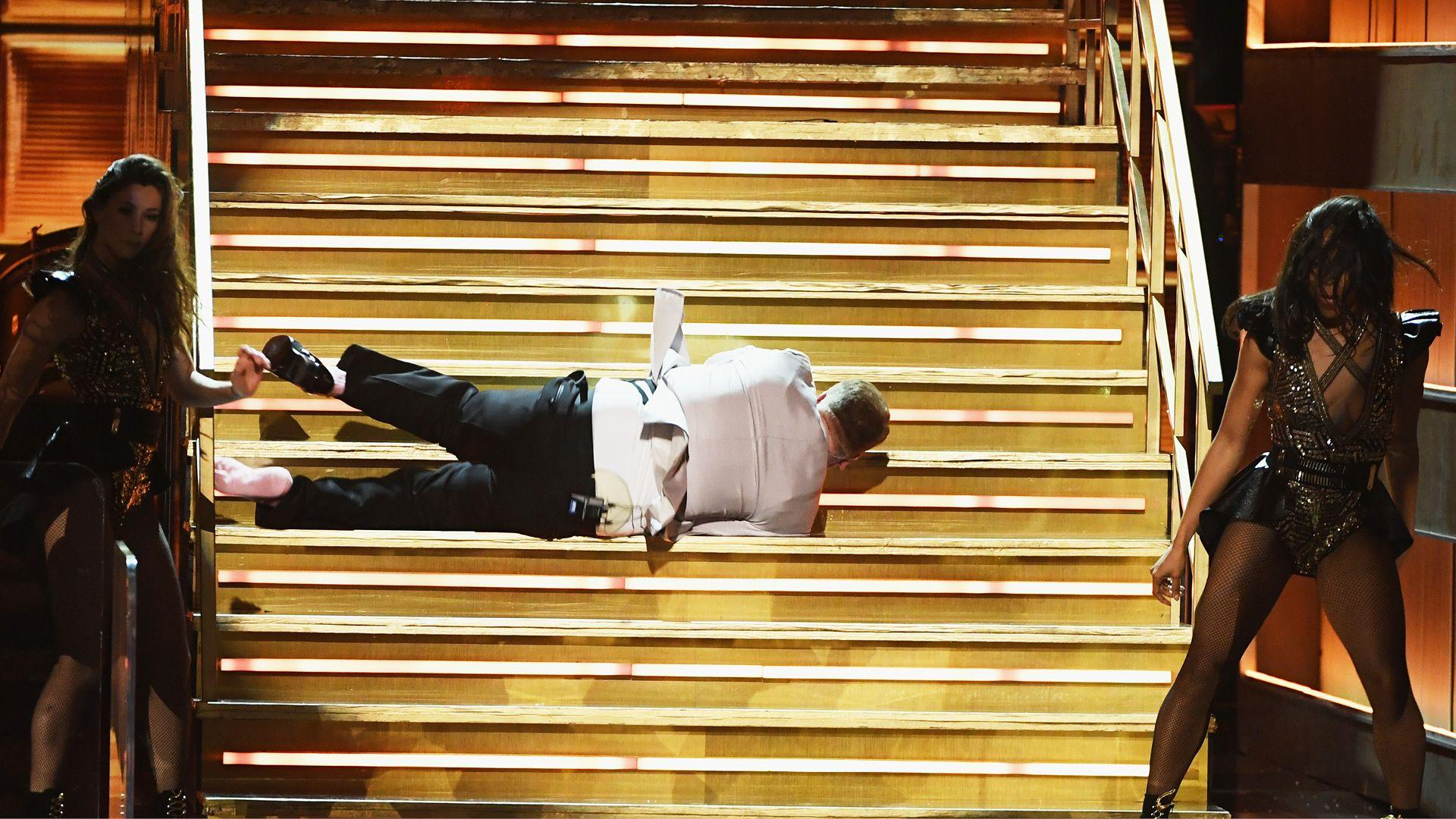 James Corden Falls at Grammy Awards