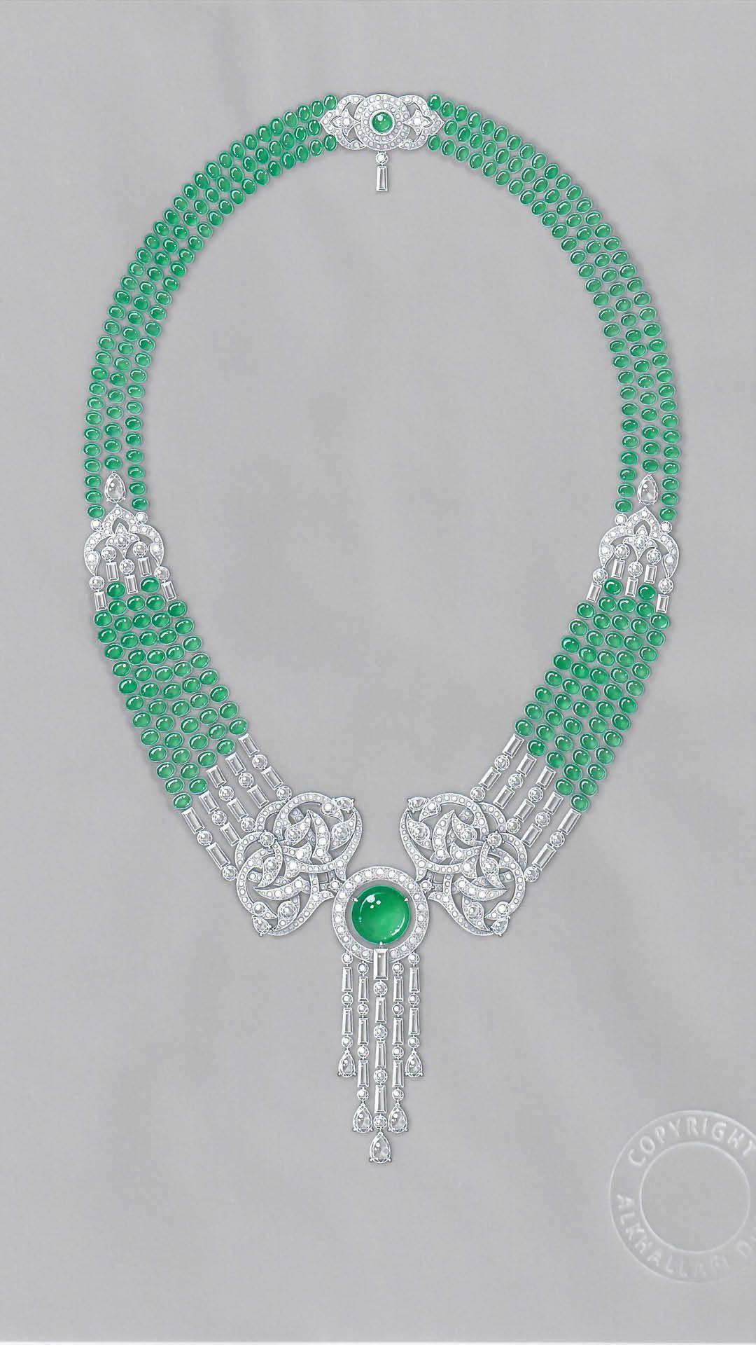 Gouache Emerald Necklace Design by Alkhallafi