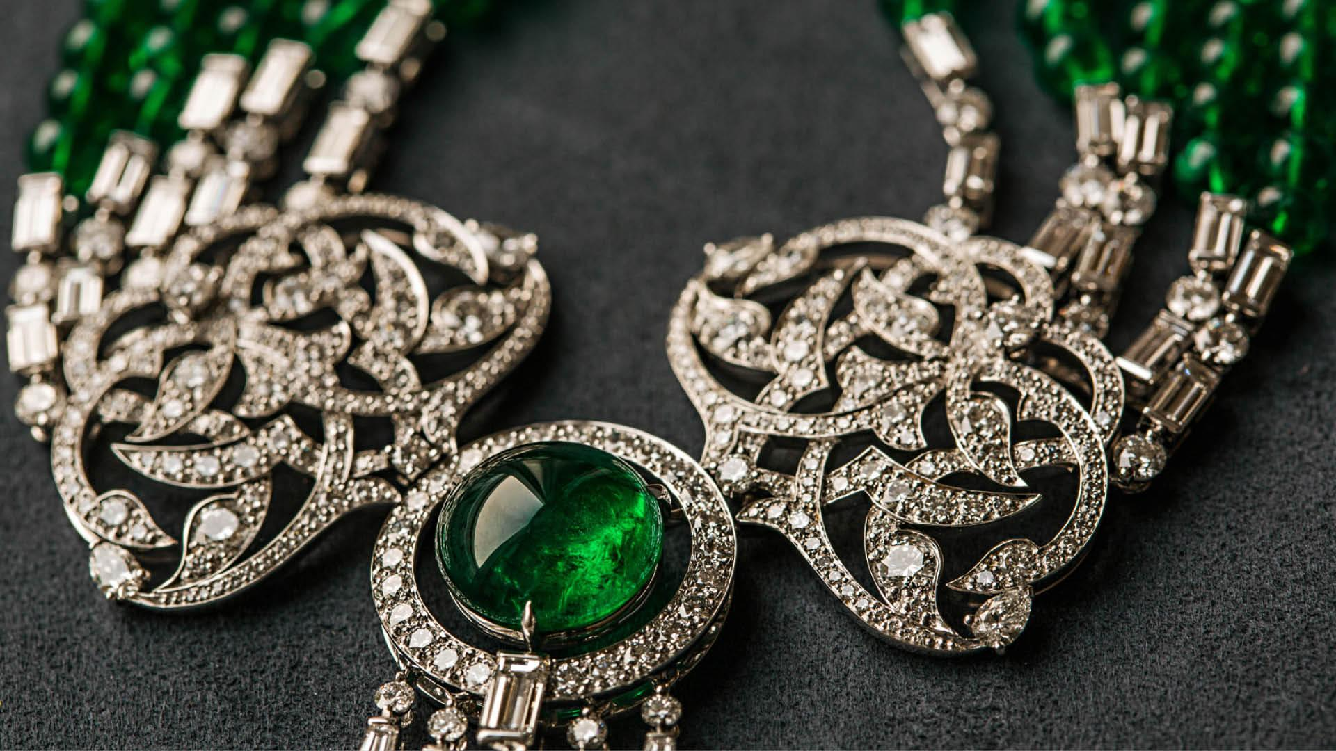An emerald and diamond necklace by Alkhallafi