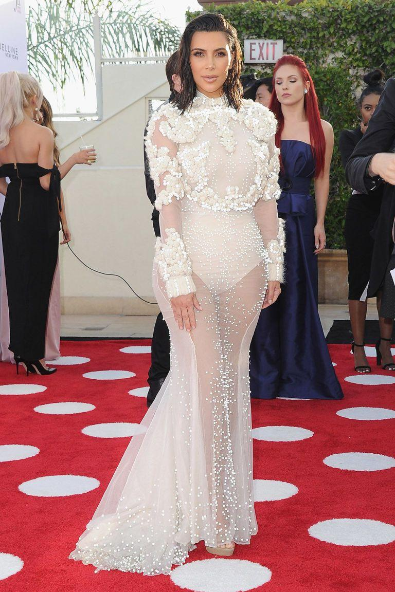 Kim Kardashian Channels Her Wedding Dress On The Red Carpet