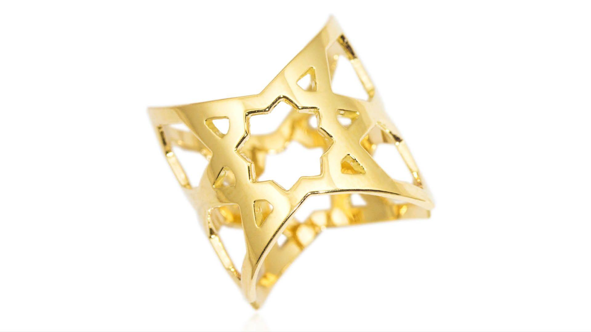 Ralph Masri Arabesque Deco Gold Cuff