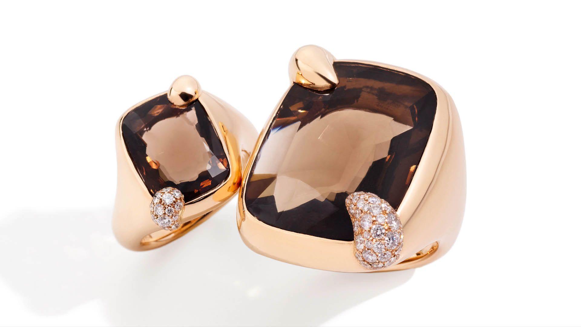 Pomellato Ritratto smoky quartz rings