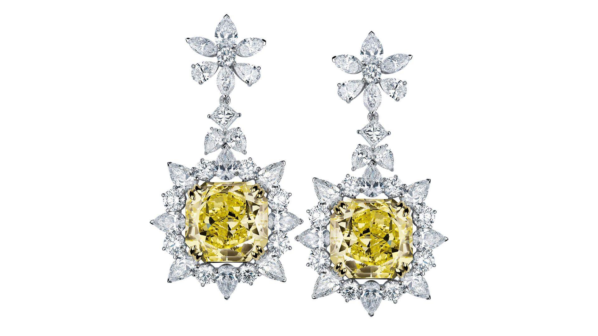 Le Soleil yellow diamond earrings by Mouawad