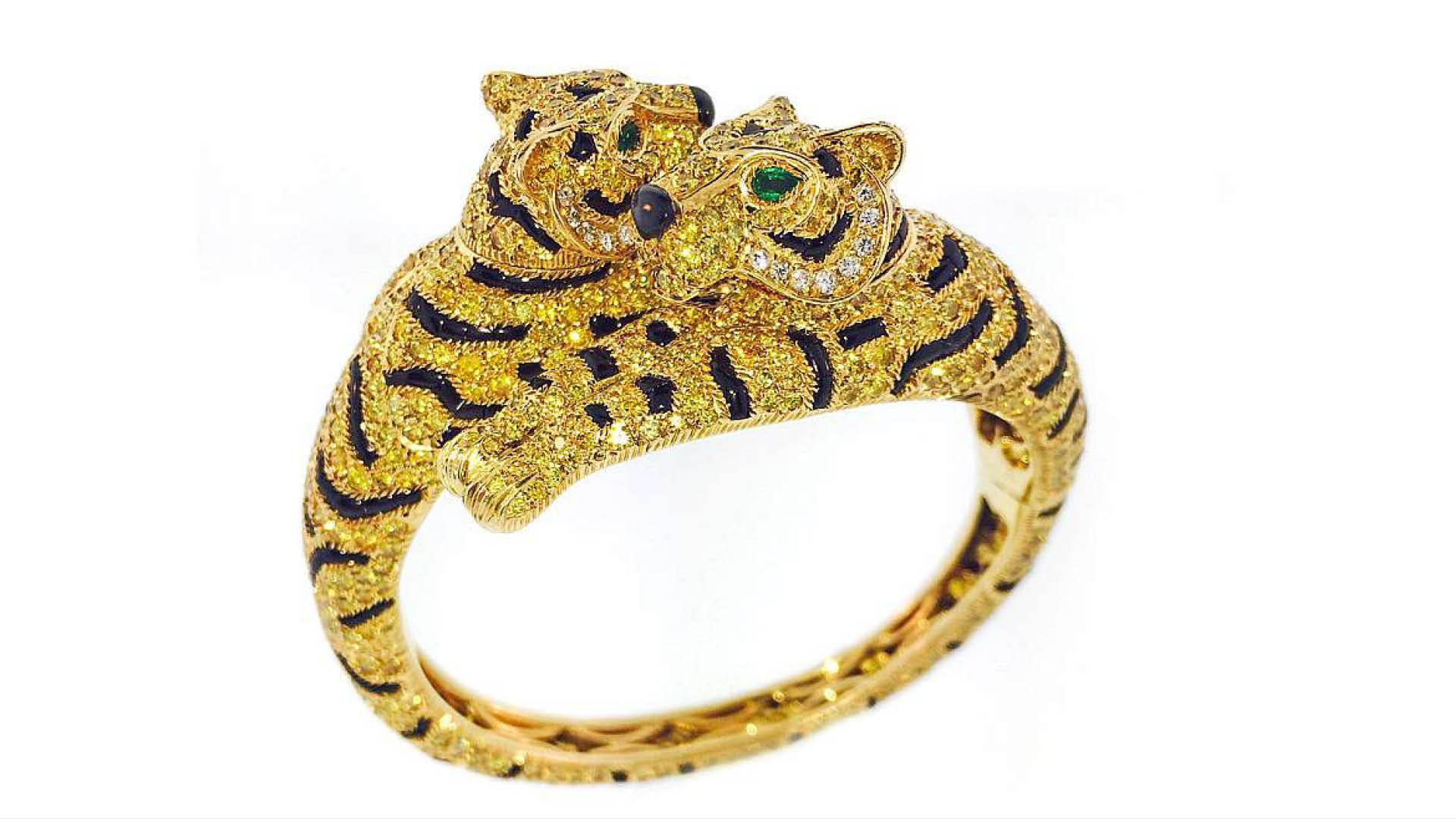 Cartier Cat Bangle In Yellow Diamonds