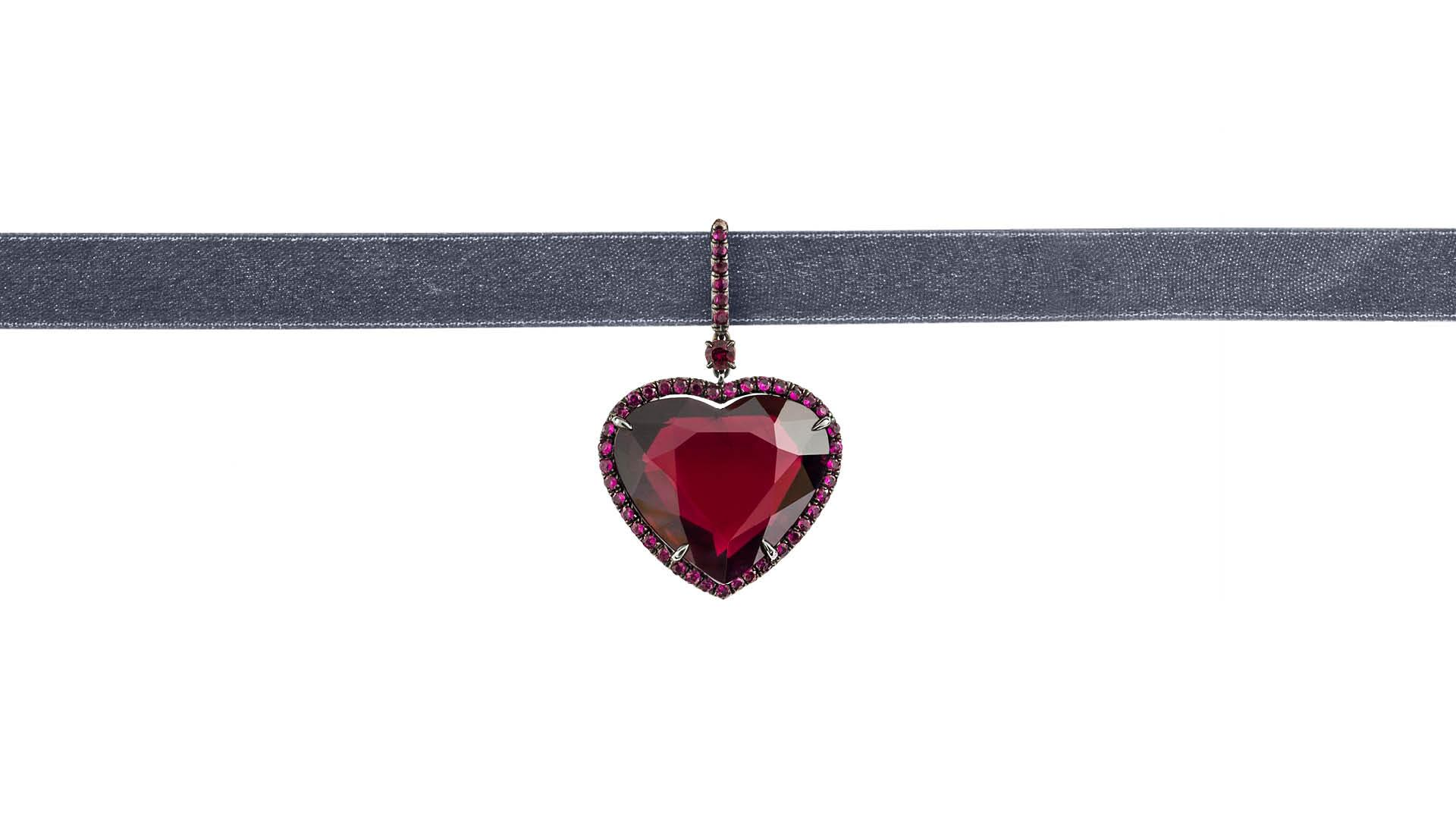 Heart shaped ruby pendant by Fred Leighton