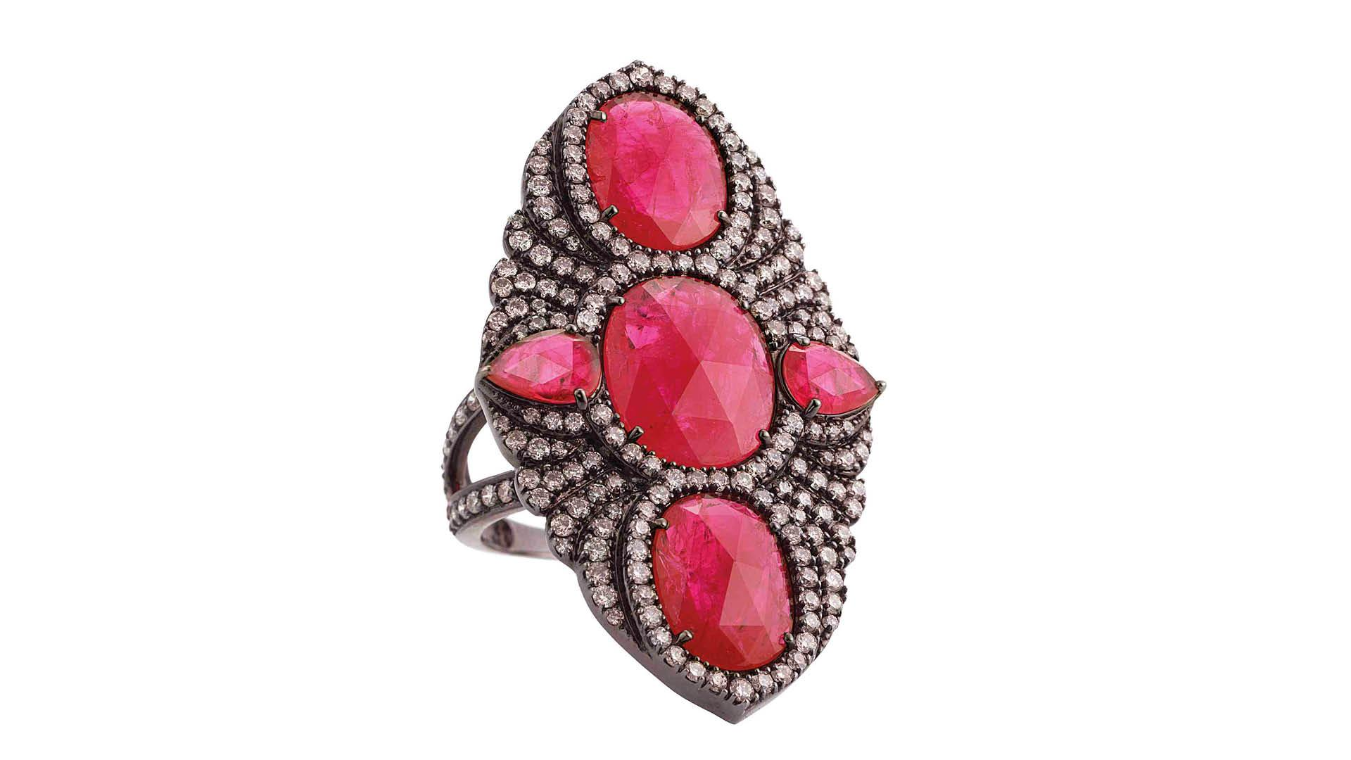 Ruby and diamond ring by Gemfields