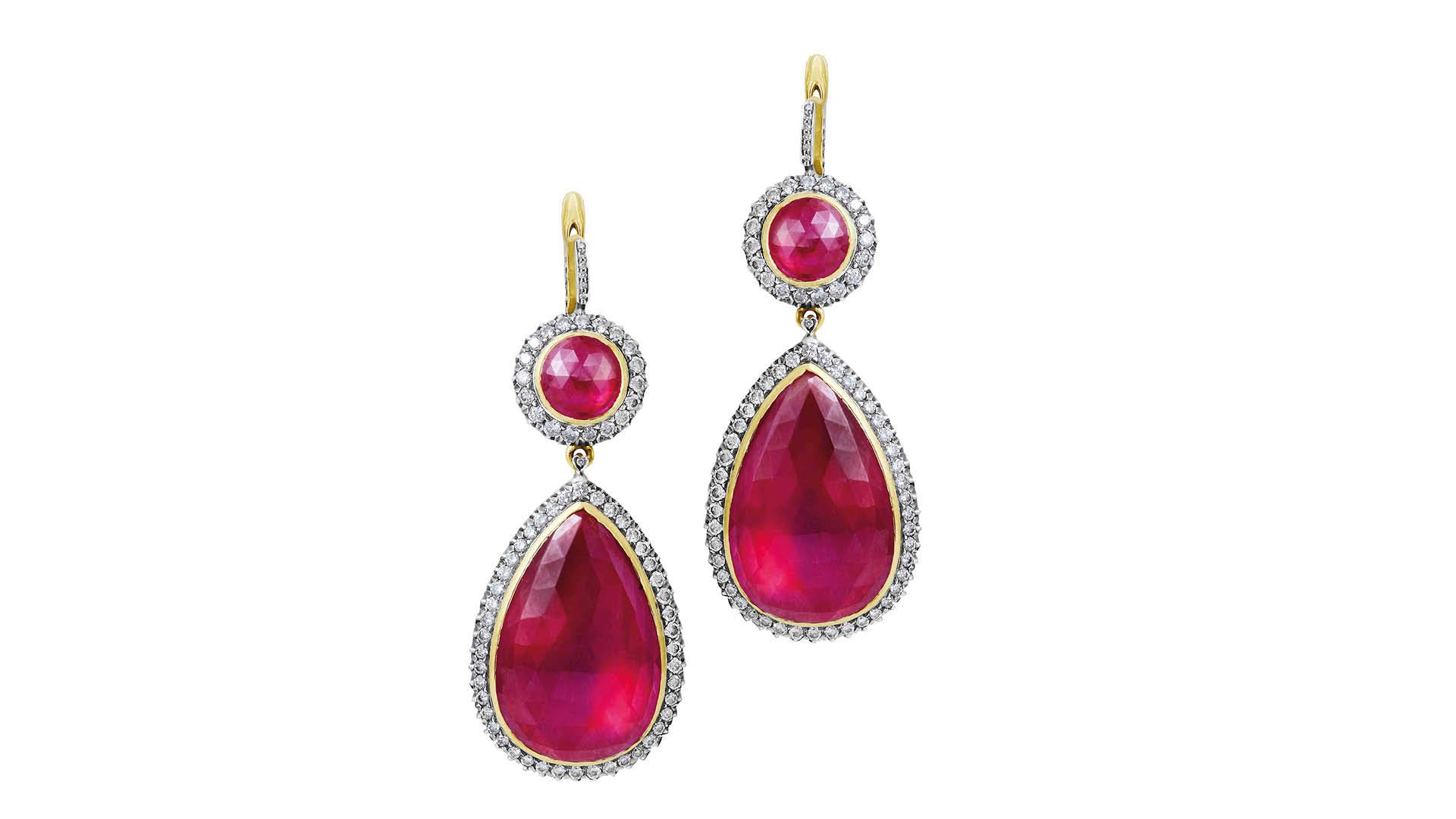 Ruby and diamond earrings by Gemfields