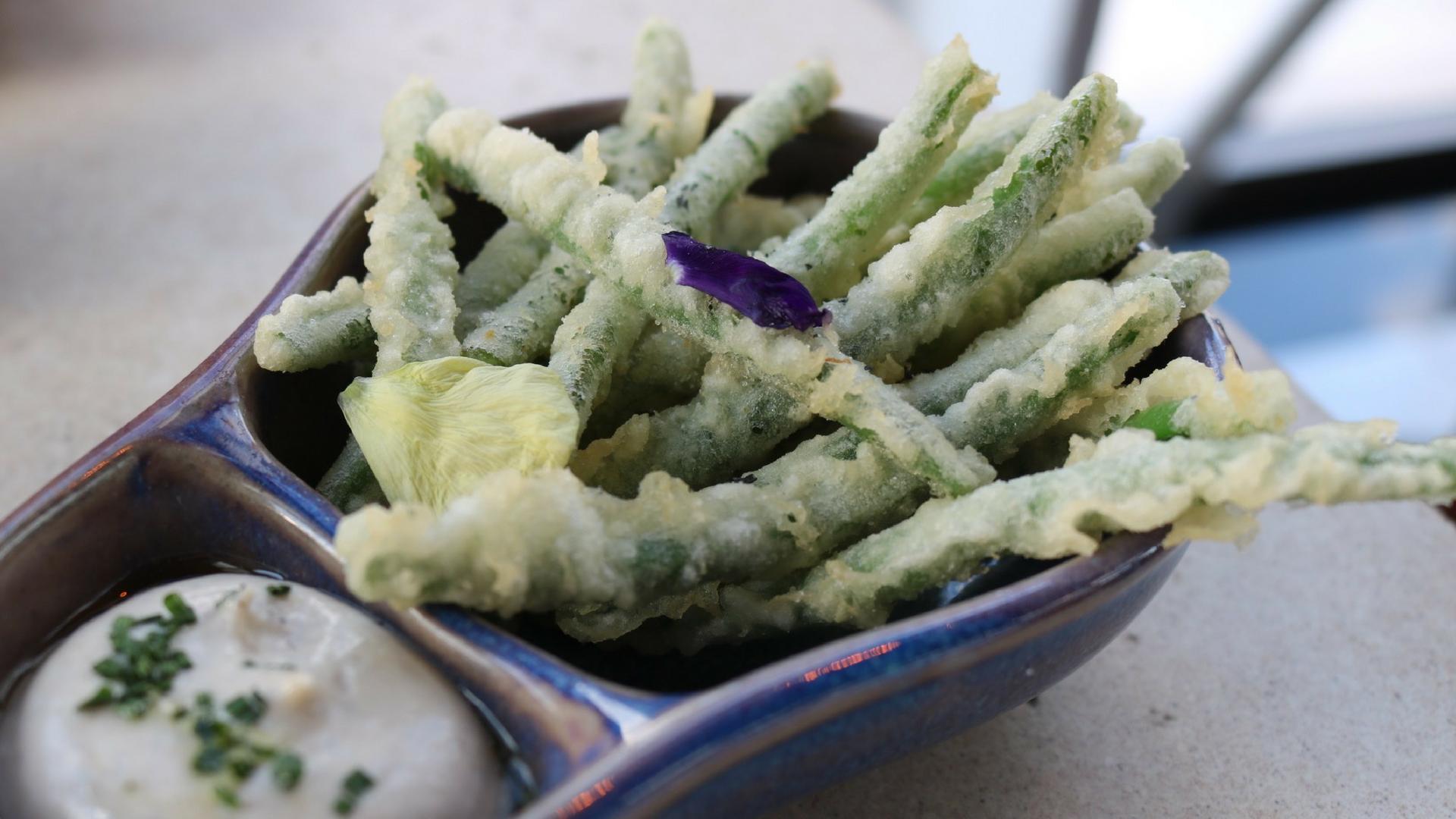 Green Bean Tempura served with black truffle