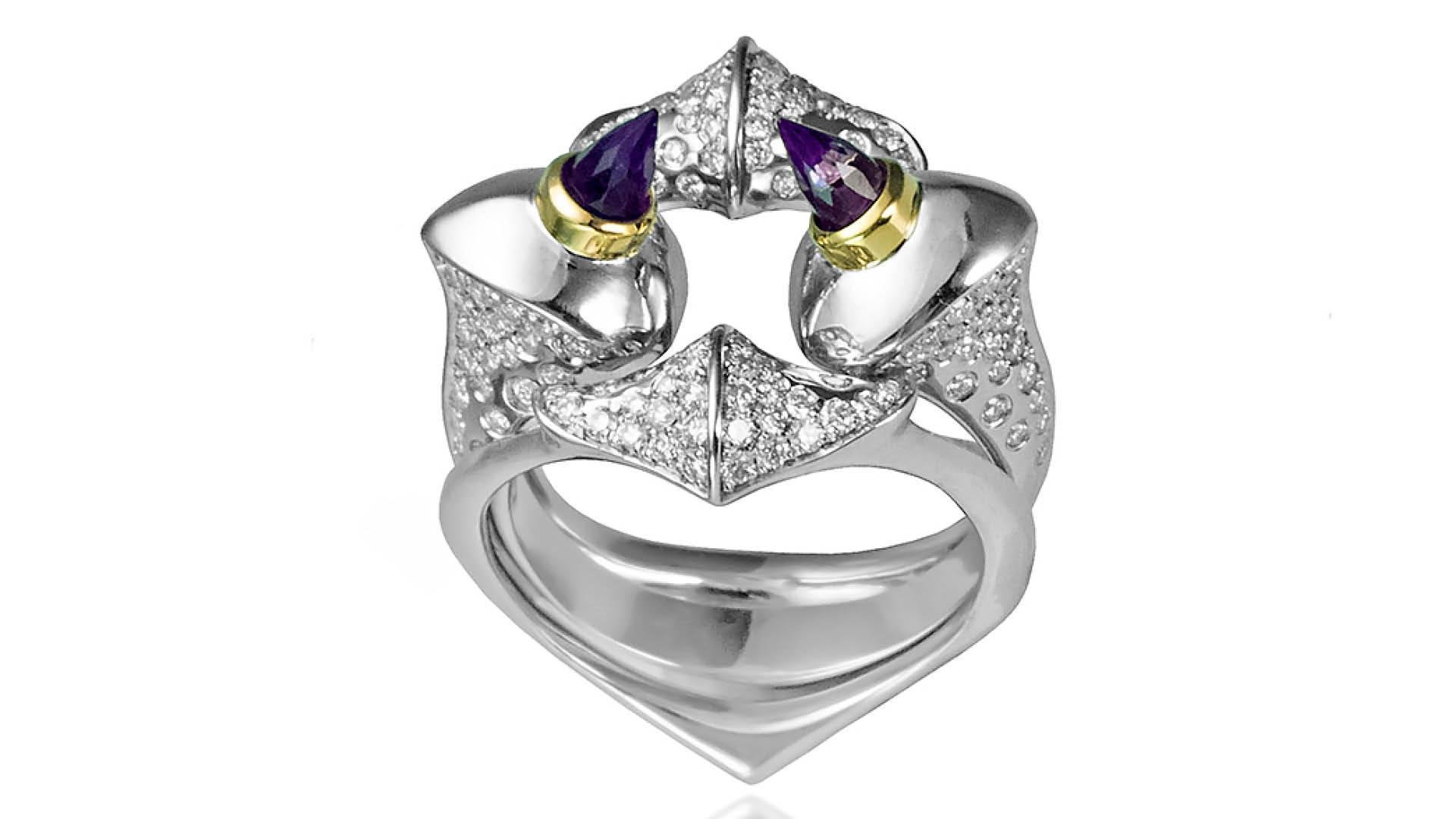 Lilith Interlocking Diamond Amethyst Ring