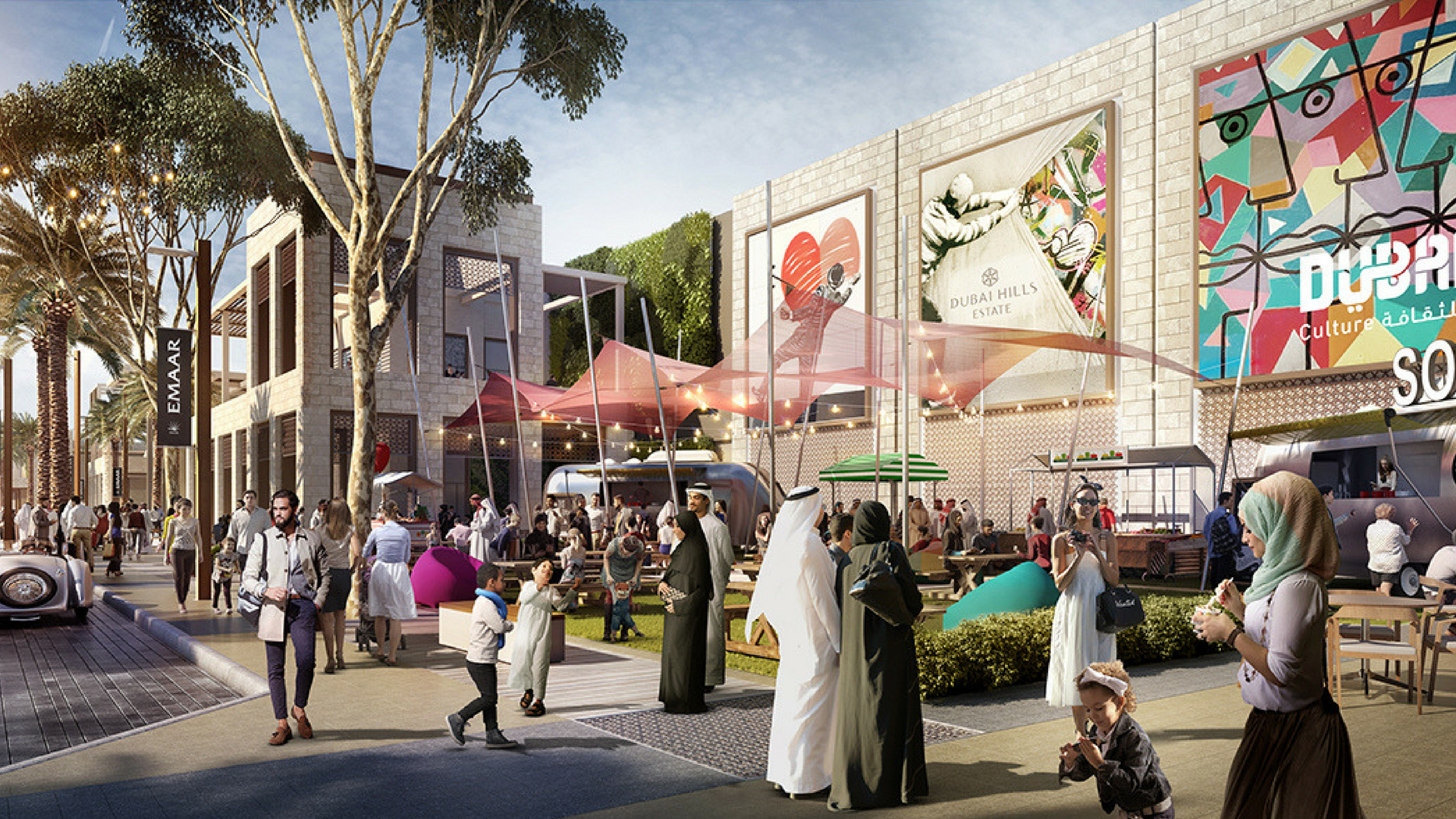 The exterior of the new Dubai Hills Mall.