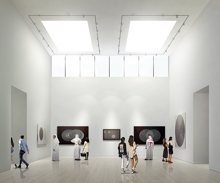 Rendering of a portion of the 1,000 square meters of gallery space at Jameel Arts Centre. Rendering courtesy of Serie