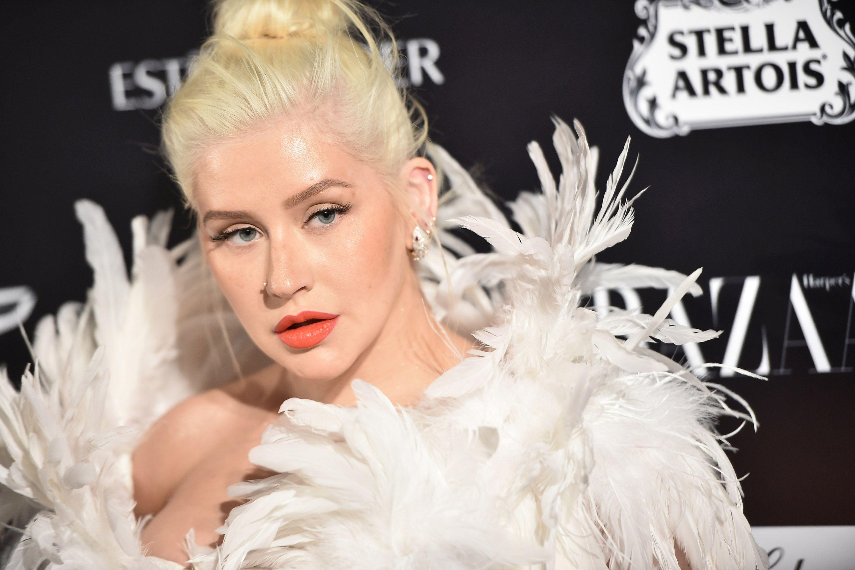 Christina Aguilera Feathery Look Bazaar Icons - Face Close Up