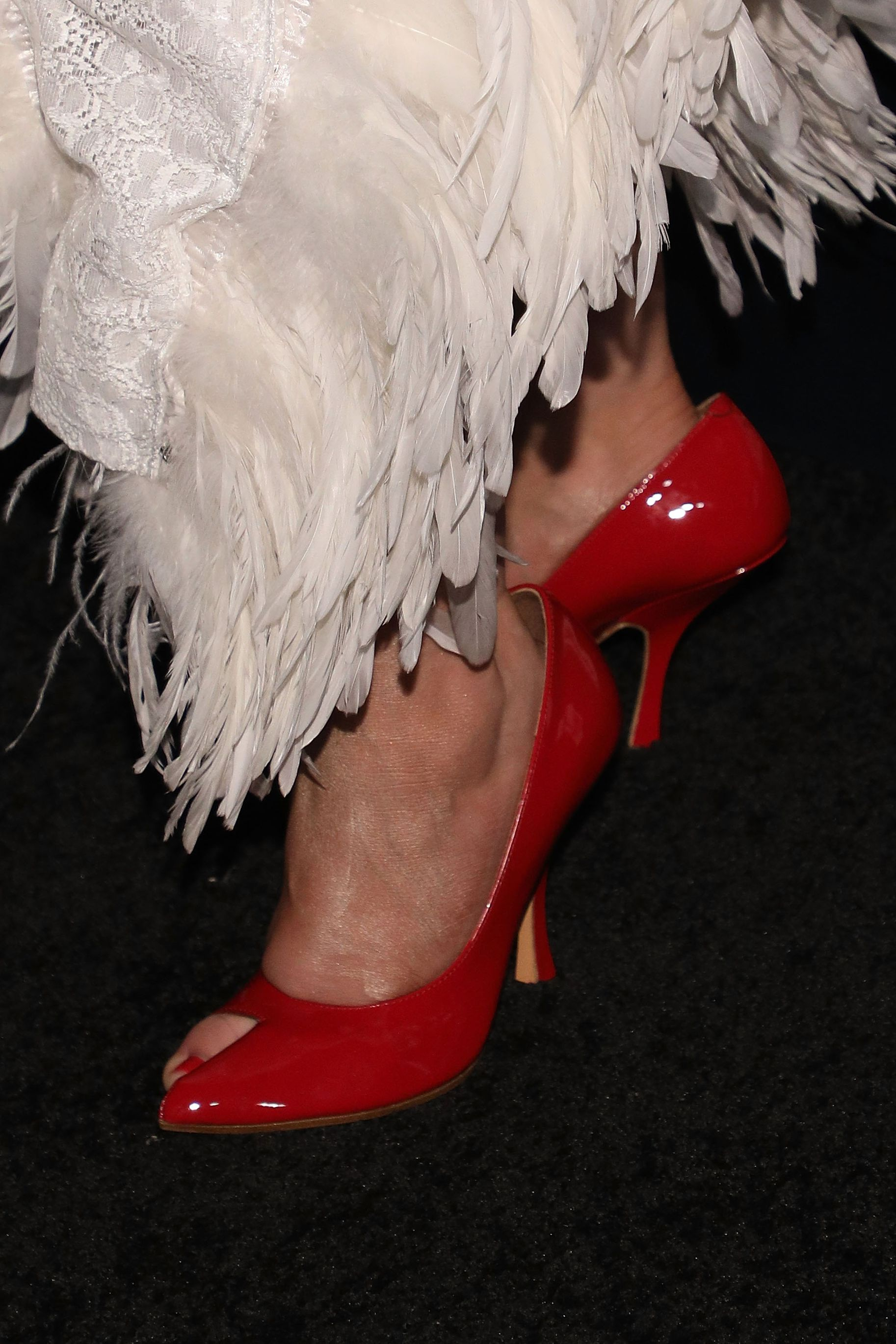 Christina Aguilera Feathery Look Bazaar Icons - Red Pumps