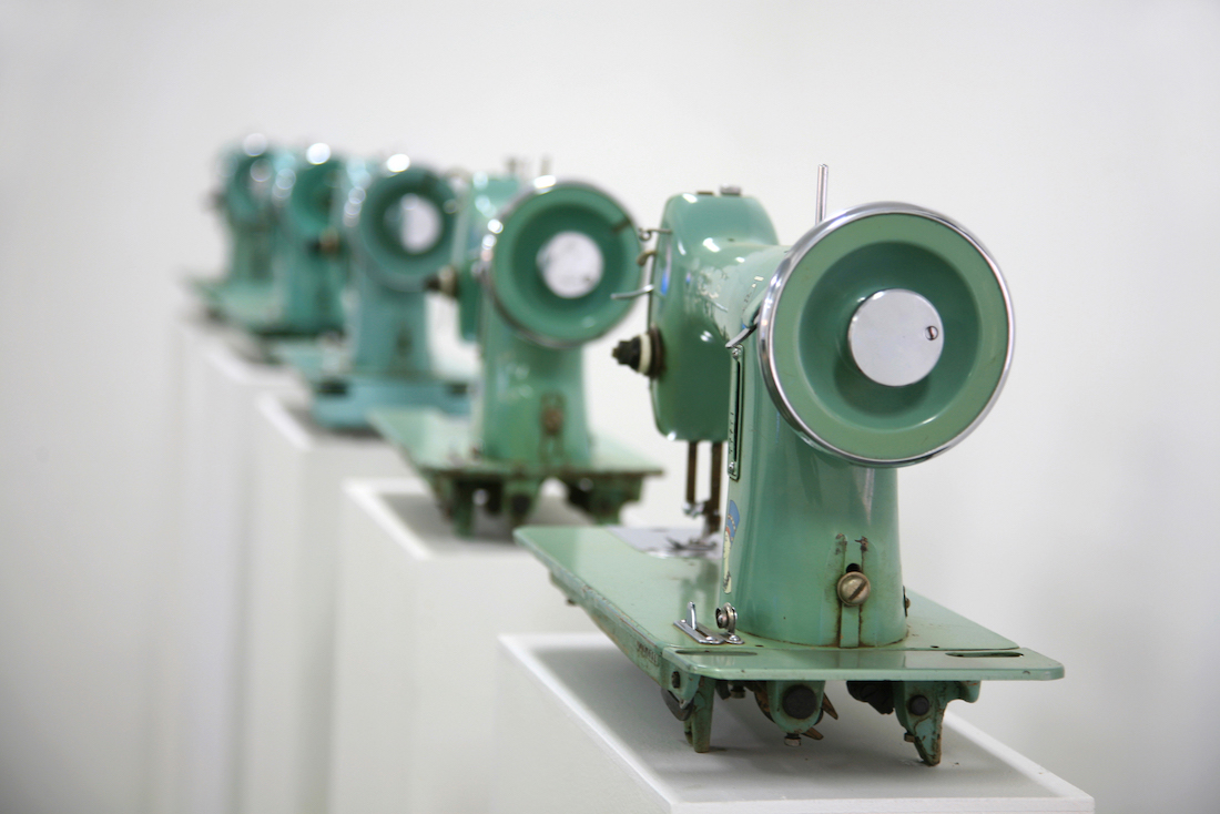 Ala Younis Nefertiti, 2008 Detail view Sewing machines, wood, single-channel video; dimensions variable, 11 minutes 30 seconds Courtesy the artist Photo by: Tarek Hefny