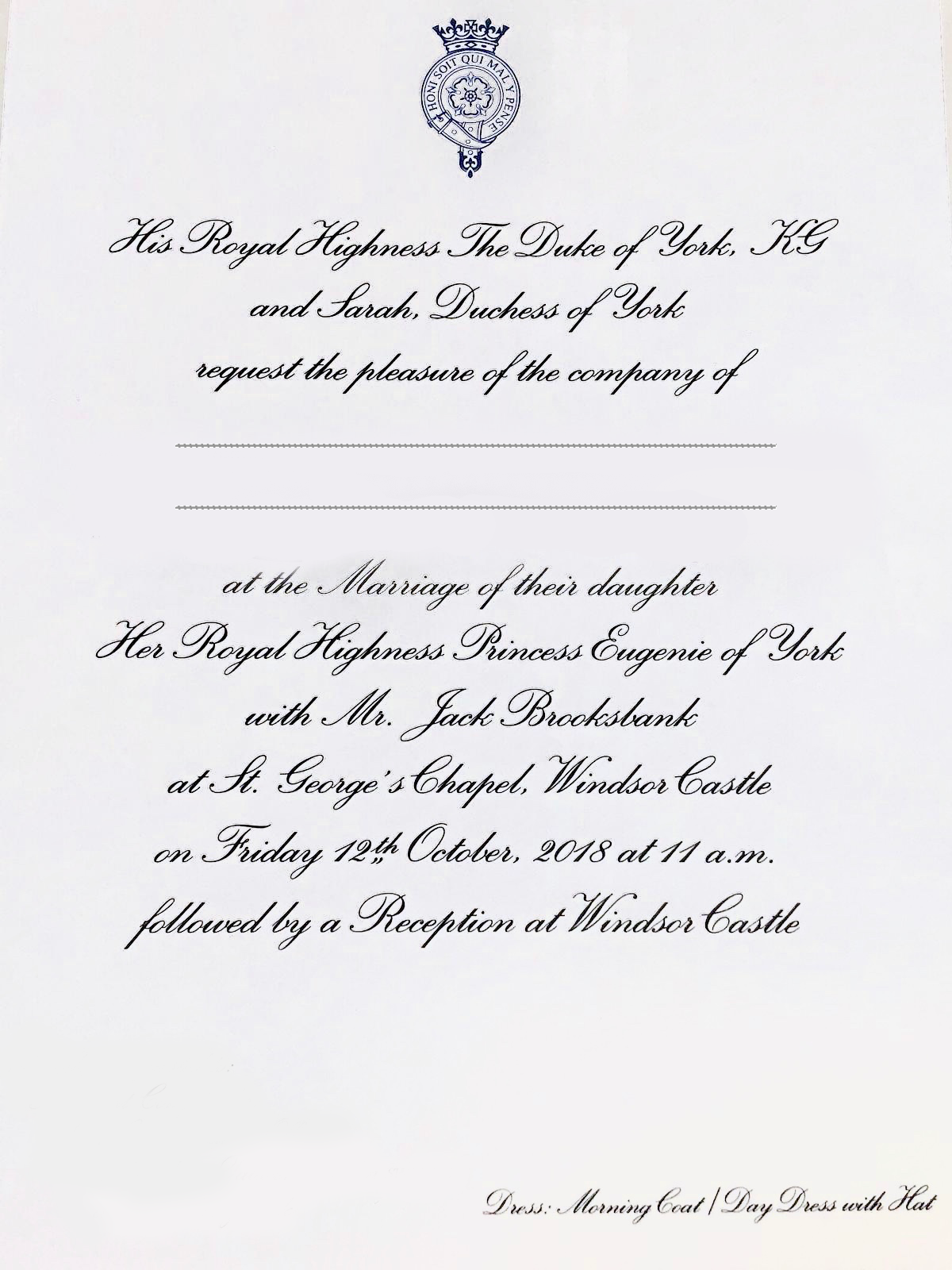 Princess Eugiene Wedding Invitation