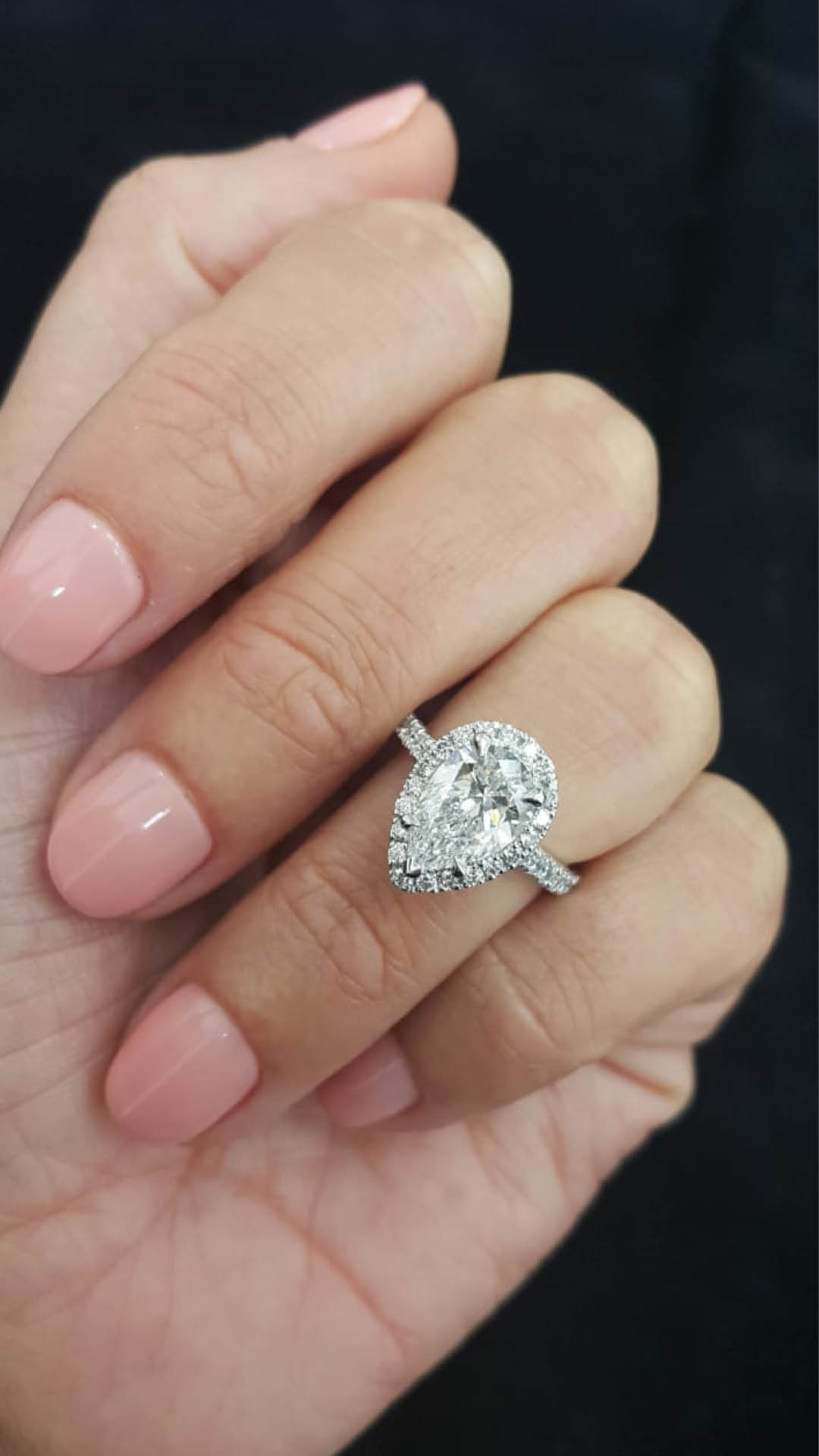 Fergus James Pear Diamond Engagement Ring Dubai