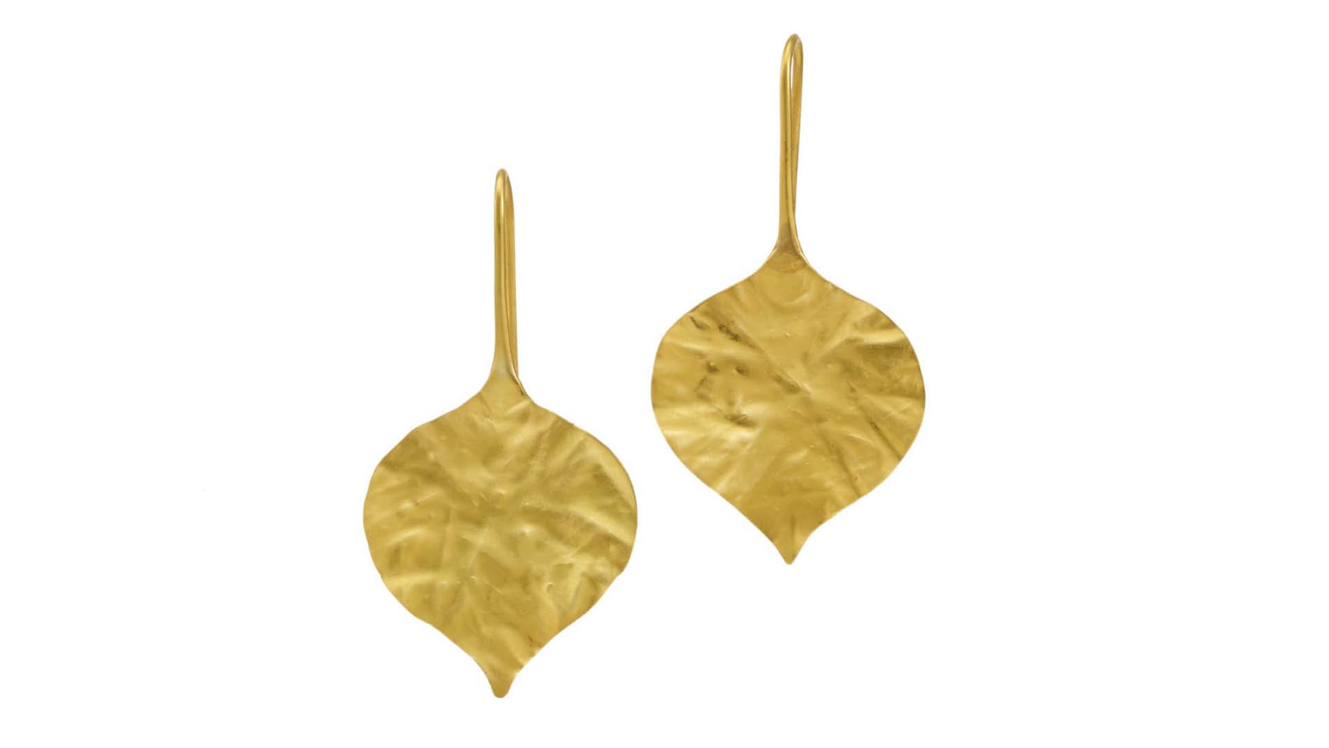 Meghan Markle Pippa Gold Peepal Leaf Earrings