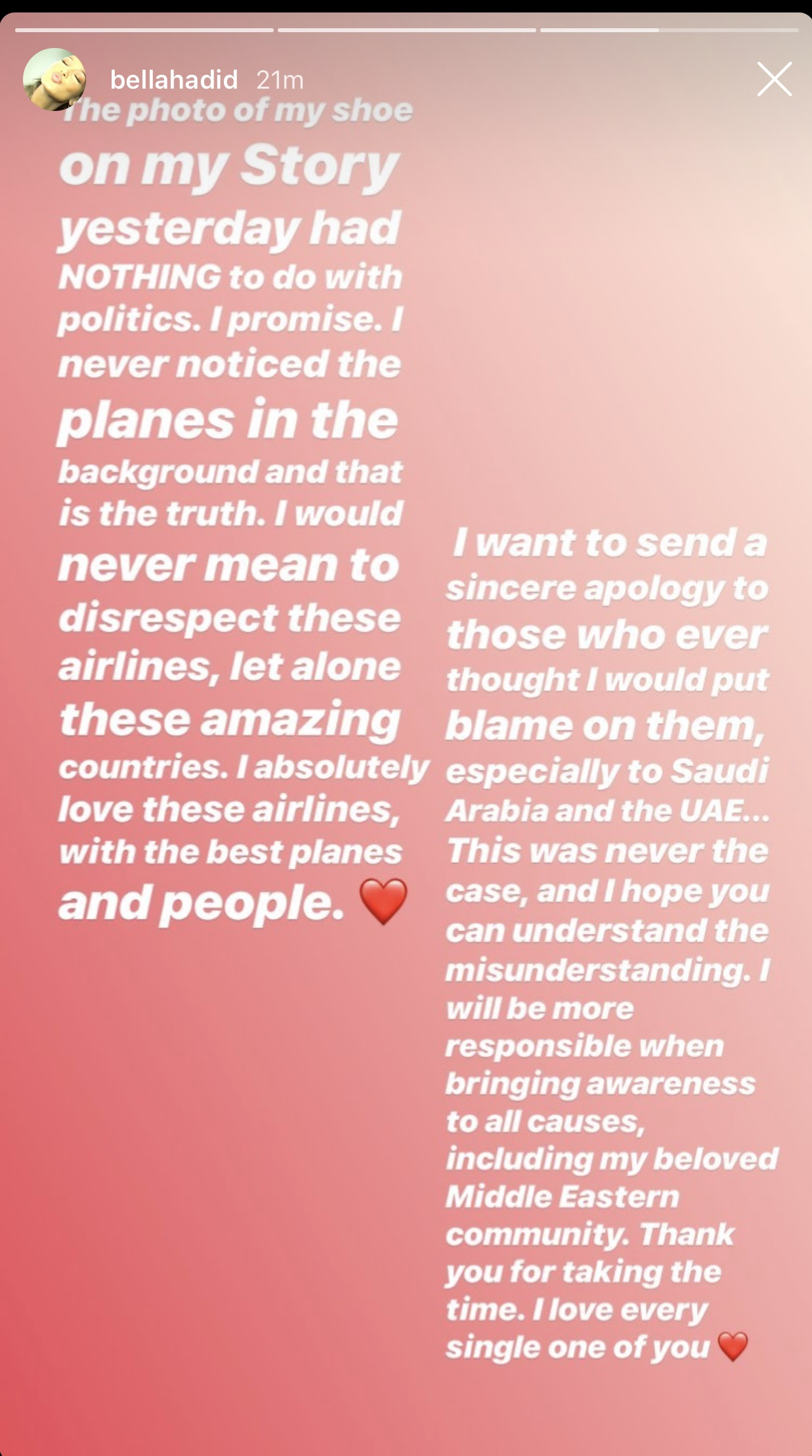 Bella Hadid's Instagram Story Apology Part 2