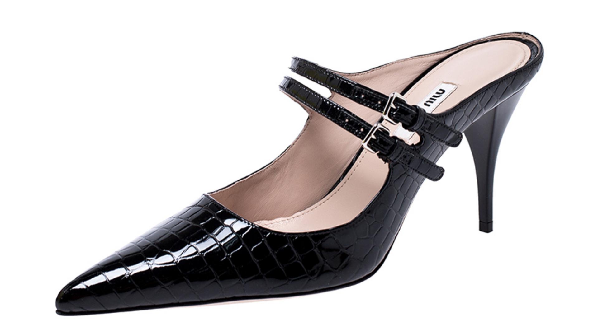 Miu Miu Vintage Heels Black Croc Luxury Closet