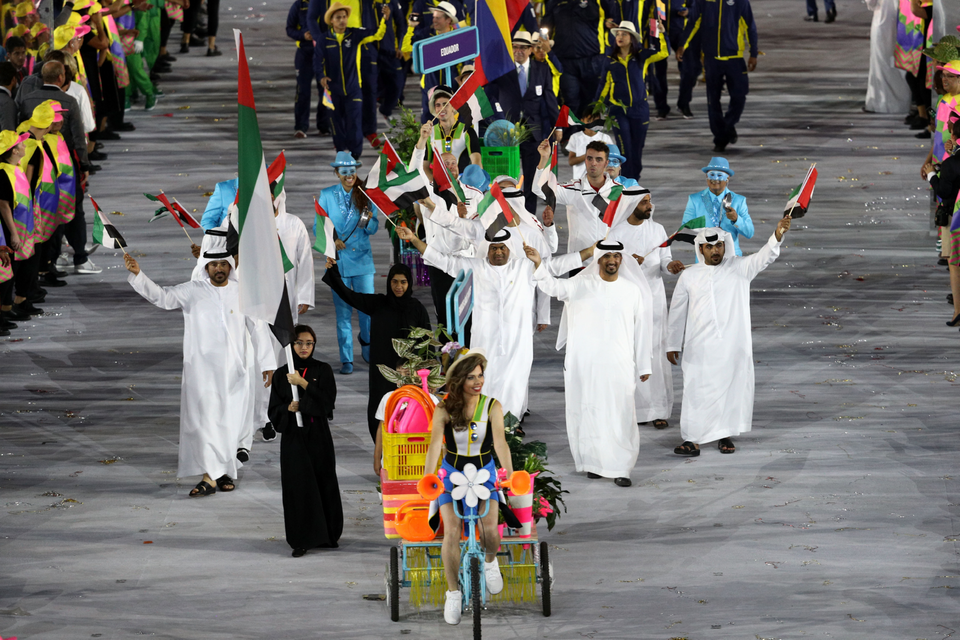 Nada Al Bedwawi Holds The UAE Flag During The 2016 Rio Olympic Games Opening Ceremony