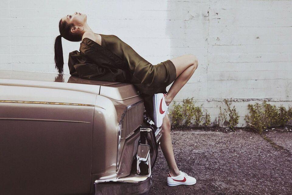 Bella Hadid Celebrates 45 Years Of Nike's Iconic Cortez Shoe