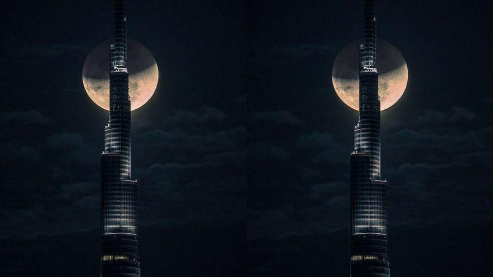 Watch: Sheikh Hamdan Captures Timelapse Of Super Moon Behind The Burj Khalifa