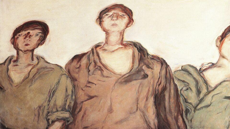 Marwan Kassab Bachi. The Three Palestinian Boys. 1970. Oil on canvas. 130x162cm.