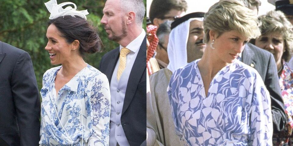 Meghan Markle Channeled Princess Diana In Her Printed Blue Dress...And We All Missed It