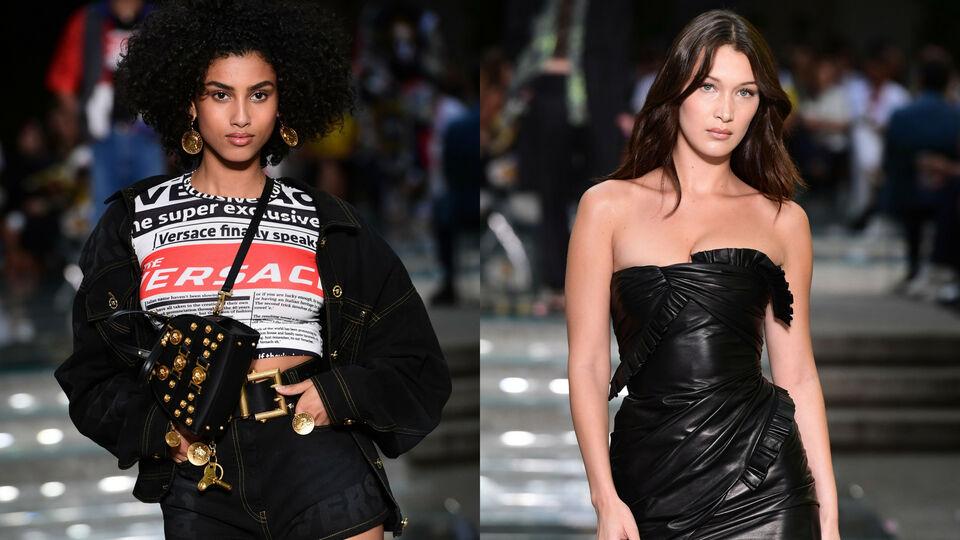 Imaan Hammam and Bella Hadid Walk At Milan Men's Fashion Week