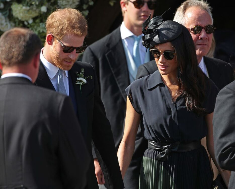 Every Photo Of Meghan Markle And Prince Harry's Adorable PDA At Charlie Van Straubenzee's Wedding