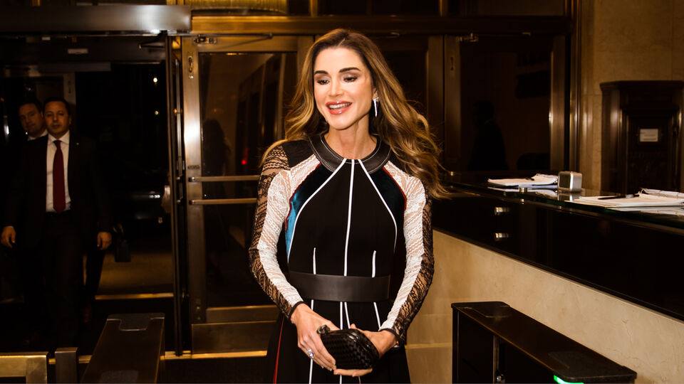 Queen Rania Wears A Lebanese Designer For Her Visit To The UN