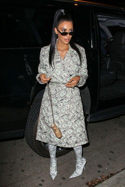 Kim Kardashian in Dollars Outfit