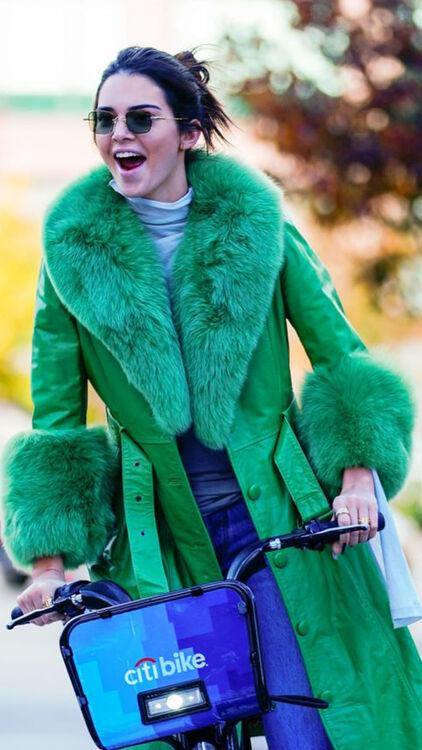Kendall Jenner - Green Fur Coat