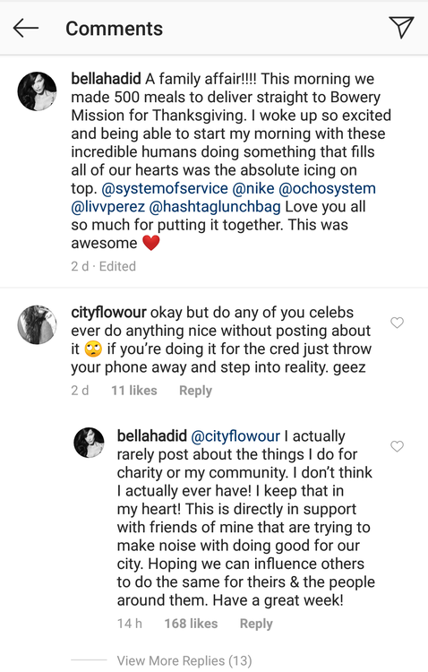 Bella Hadid's response to the hate comment