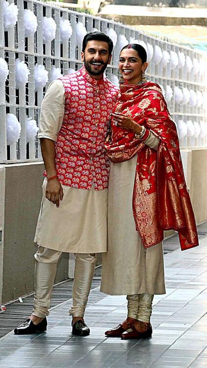 Deepika Padukone and Ranveer Singh Posing Outside Their Mumbai Home