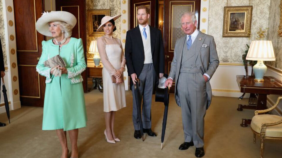 Prince Charles and Duchess of Cornwall with Meghan Markle and Prince Harry at Buckingham Palace