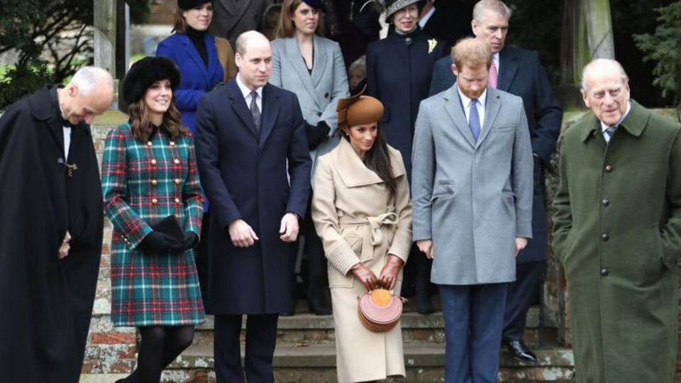 Kate, William, Meghan and Harry last year for Christmas