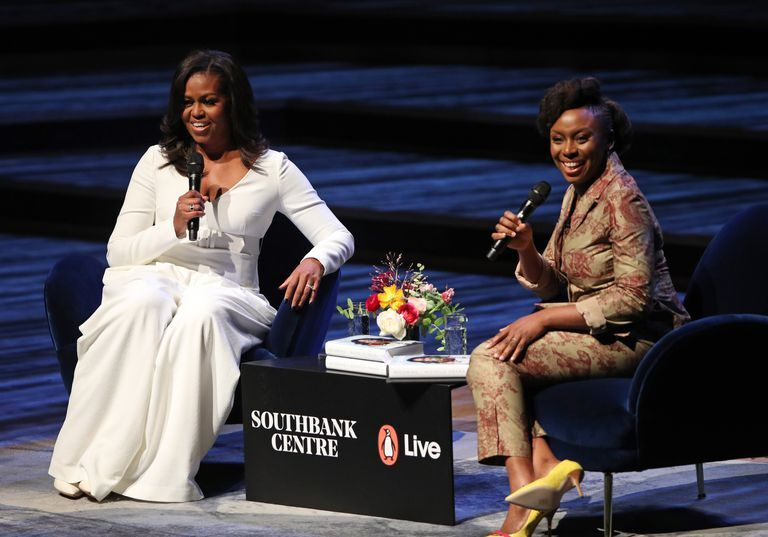 Michelle Obama on a book tour of her autobiography, Becoming at Southbank Centre stage
