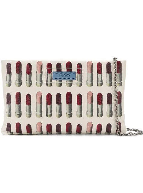 Lipstick print clutch from prada