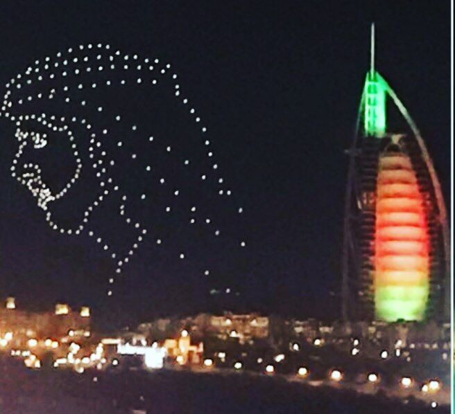 Hundreds Of Drones Create A Giant Image Of Sheikh Mohammed In The Dubai Sky