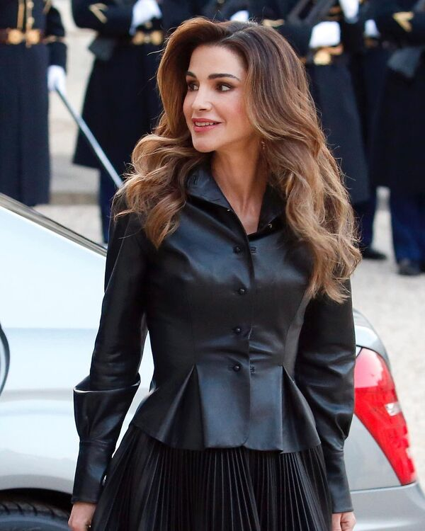 Queen Rania's All-Black Leather Ensemble Is The Spring Outfit We Never Knew We Needed