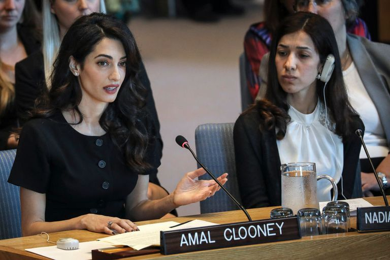 Amal Clooney Speaks at U.N. Security Council Meeting With Iraqi Activist Nadia Murad