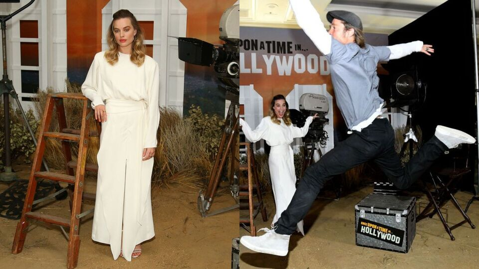 Brad Pitt Photobombs Margot Robbie In The Most Extra Way Possible