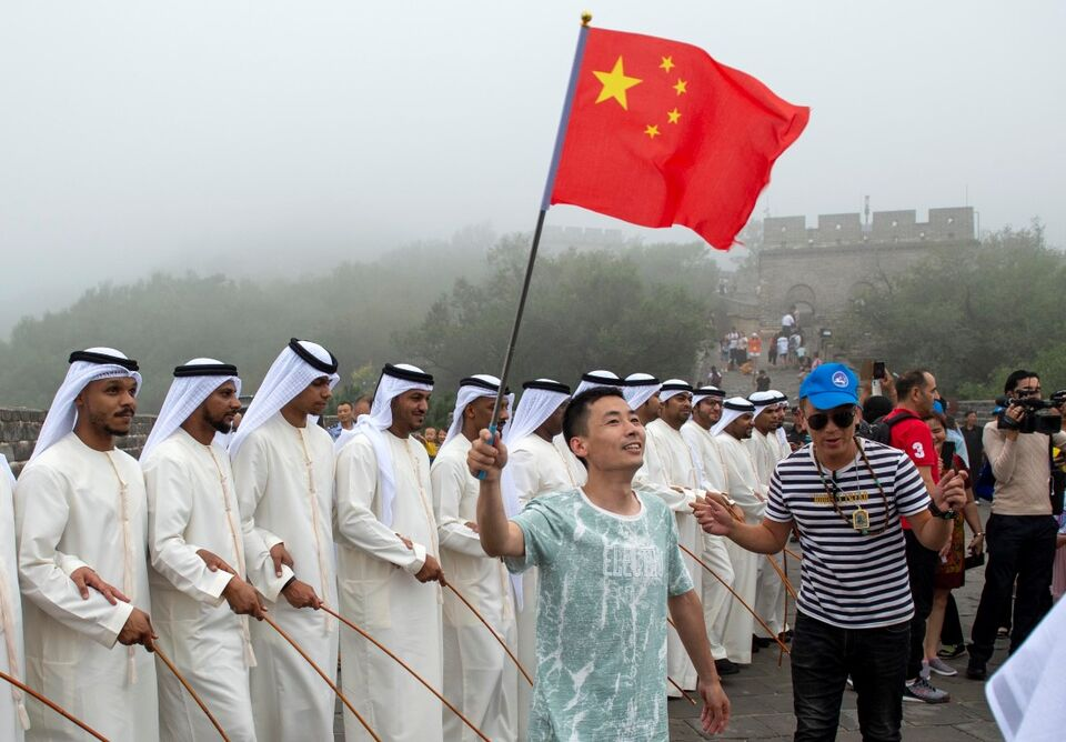 Emirati Folklore Group Perform The 'Stick Dance' At Great Wall Of China