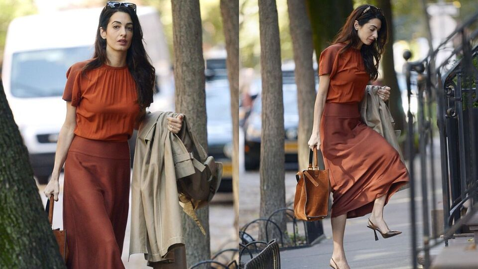 Amal Clooney Shows Us How To Wear A Slip Skirt to Work This Autumn