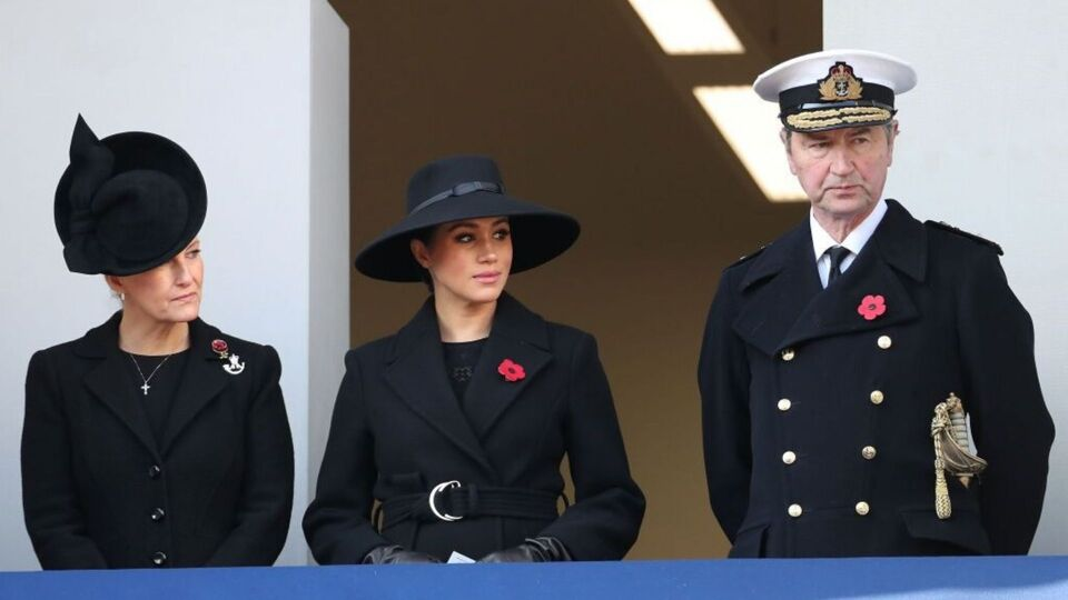 Meghan Markle Wears A Black Statement Hat For Remembrance Sunday