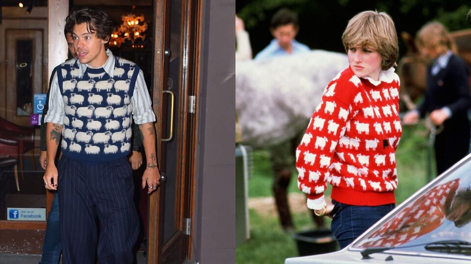 Harry Styles Just Channeled Princess Diana In A Chic Sheep Sweater Vest