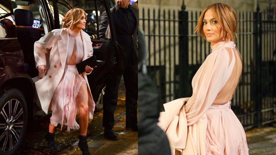 Jennifer Lopez's Blush Pink Cut-Out Dress Features A Thigh-High Leg Slit