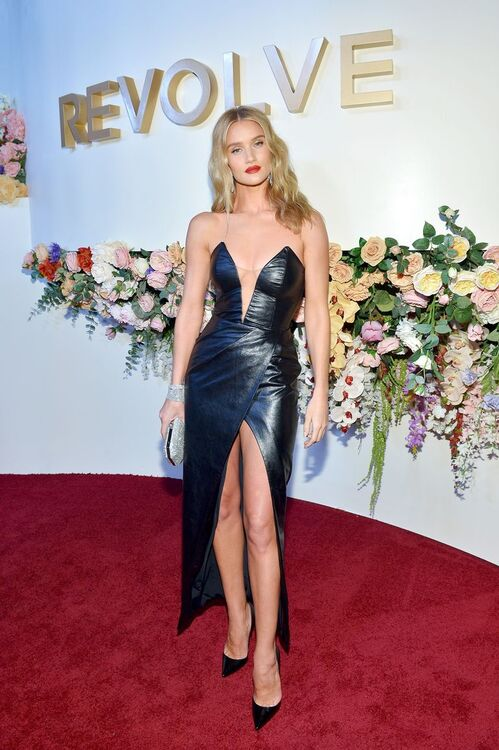 Rosie Huntington-Whiteley's Leather Dress Has The Highest Leg Split We Ever Did See