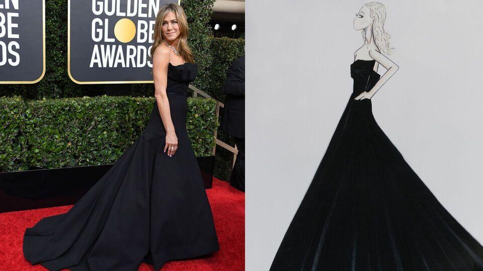 Jennifer Aniston's Golden Globes Dior Gown Required 200 Hours Of Craftsmanship